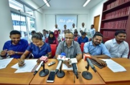 During the press conference held by lawyers who were suspended indefinitely over submitting a petition to the the Supreme Court raising concerns about the Maldivian judiciary. PHOTO: NISHAN ALI/MIHAARU