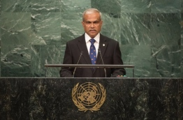 Foreign Minister Dr Mohamed Asim gives his address during a UN General Assembly.