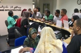 People file complaints regarding the flat distribution of the government's first social housing project at the housing ministry. PHOTO: NISHAN ALI/MIHAARU