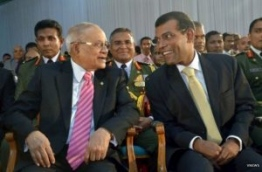 Former President Maumoon and Former President Nasheed together PHOTO: Vnews