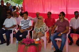 First Lady Fathmath Ibrahim (C) with Deputy Speaker of the parliament Moosa Manik (L) and MP Ibrahim Falah (R) at Meedhoo in Raa Atoll. PHOTO / PPM