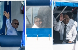 L-R: Former President Maumoon Abdul Gayoom, Judge Ali Hameed, and Chief Justice Abdulla Saeed gesture as they are escorted to prison on police speedboats. PHOTO/MIHAARU
