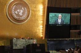 Foreign Minister Dr Mohamed Asim pictured addressing the 72nd General Assembly of the United Nations in New York.