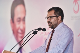 Minister of Tourism Moosa Zameer speaking at a ruling Progressive Party of Maldives (PPM) rally --