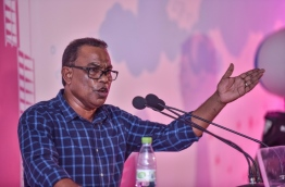 Ruling Progressive Party of Maldives (PPM) Deputy Leader and Fonadhoo MP Abdul Raheem Abdullah speaking at a rally held at the party's main hub in the capital Male. PHOTO / MIHAARU