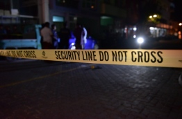 Police tape drawn at the scene of a gang violence in capital Male. PHOTO/MIHAARU