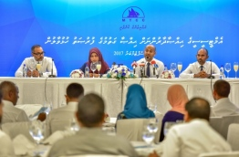 MTCC's Chairman Ahmed Niyaz and other executives speak at press conference regarding new share sales for MTCC shareholders. PHOTO: NISHAN ALI/MIHAARU