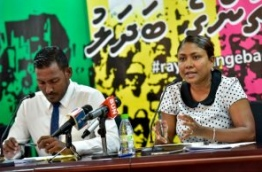 Qasim' s lawyers former Deputy Prosecutor General Hussain Shameem (L) and lawyer Hisaan Hussain (R) speaking at a press conference held at Jumhoory Party's main party hub 'Kunooz' MIHAARU PHOTO / NISHAN ALI