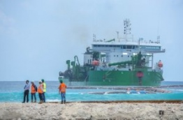Ongoing reclamation of land to develop the link road between Hulhule and Hulhumale. PHOTO/HDC