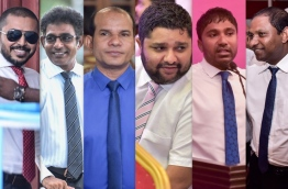 The ousted lawmakers (L-R): Maduvvari MP Mohamed Ameeth , Thulusdhoo MP Mohamed Waheed Ibrahim, Dhidhdhoo MP Abdul Latheef Mohamed, Machangolhi South MP Abdulla Sinan, Dhangethi MP Ilham Ahmed and Villingili MP Saud Hussain.