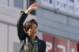 Tokyo's popular governor Yuriko Koike launched a bitter attack on Prime Minister Shinzo Abe on October 10 as the gloves came off for the official start of a snap election campaign in the world's third-largest economy. / AFP PHOTO / Kazuhiro NOGI