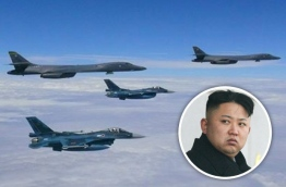 WAR GAMES: A number of US bombers flew over the Korean Peninsula. PHOTO/DAILY STAR.UK