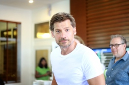 UNDP's Goodwill Ambassador and Game of Thrones star Nikolaj Coster-Waldau at the VIP lounge in Velana International Airport in the Maldives. PHOTO: FARAH AHMED/MIHAARU