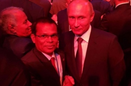 Parliament Speaker Abdulla Maseeh (L) pose for picture with Russian president Vladimir Putin after the 137th Inter-Parliamentary Union (IPU) Assembly in Russia.
