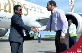 President returning back to Male after concluding his official visit to UAE. PHOTO / PRESIDENT'S OFFICE