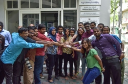 Journalists pictured in front of Maldives Media Council (MMC). PHOTO/MIHAARU