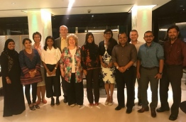 Members of the opposition coalition with the European Union delegation that arrived in the Maldives on Sunday, October 29, 2017, outside Hotel Jen in the capital Male --