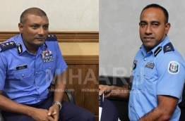 Police Commissioner Mohamed Areef (L) and Deputy Police Commissioner Ahmed Saudhi (R)