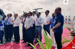 President Yameen, with government officials at the inauguration of the new domestic airport, 'Dhaalu Airport', in Kudahuvadhoo, Dhaalu atoll. PHOTO / PRESIDENT'S OFFICE