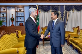 Indian foreign secretary S. Jaishankar (L) meets with President Yameen. PHOTO/PRESIDENT'S OFFICE