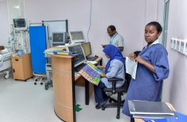IGMH staff pictured at the new cardiac centre at the state run hospital. MIHAARU FILE PHOTO/NISHAN ALI