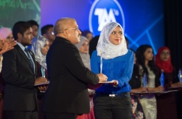 A student being awarded at the High Achiever's award function in 2016. PHOTO / MIHAARU