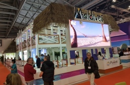 The Maldives' stall at the World Travel Market 2017 in London, UK. PHOTO: ABDULLA JAMEEL/MIHAARU