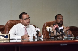 Islamic minister Dr Ziyad Baqir and defence minister Adam Shareef speak at press conference regarding the funds raised for the Rohingya. PHOTO: HUSSAIN WAHEED/MIHAARU