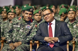 Defence Minister Adam Shareef (R) and Chief of the Maldives National Defence Force (MNDF) Major General Ahmed Shiyam (L) at the meeting held to mark Victory Day on November 3, 2017. MIHAARU PHOTO / NISHAN ALI