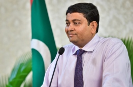 Fisheries minister Dr Mohamed Shainee speaks at a press conference. PHOTO/MIHAARU