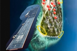 A drawing of the floating airport G.A. Dhevvadhoo hopes to develop by the island.