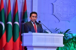 President Abdulla Yameen speaks at the ceremony of the Maldives' 49th Republic Day. PHOTO/PRESIDENT'S OFFICE