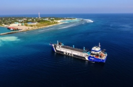 "Aerial view showing MTCC's dredger ""Maha Jarraf"" off the coast of HDh. Kulhudhuffushi."