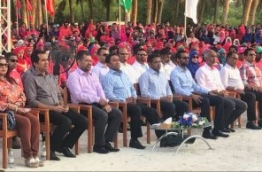 President Abdulla Yameen at the inauguration of Kulhudhuffushi domestic airport project. PHOTO/MTCC
