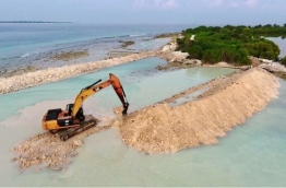 Developing the bund wall around the area to be reclaimed in HDh. Kulhudhuffushi's mangrove swamp. PHOTO/SOCIAL MEDIA