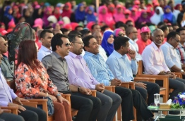 President Abdulla Yameen with his cabinet at the PPM 6th anniversary meeting held in H. Dh. Kulhudhuffushi on November 12, 2017. PHOTO / PRESIDENT'S OFFICE