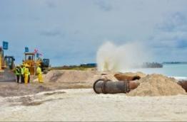Land reclamation underway for runway development at Velana International Airport (VIA). FILE PHOTO/MIHAARU