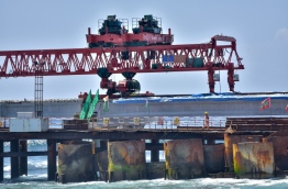 I-beams are placed at the approach bridge on the Male end of the China-Maldives Friendship Bridge PHOTO: NISHAN ALI/MIHAARU