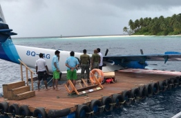 The seaplane of Maldivian after it lost its pontoon during take-off from Dhoores Retreat Resort.