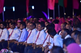 PPM's leadership pictured at the ceremony held in HDh. Kulhudhuffushi to mark PPM's sixth anniversary. PHOTO/PRESIDENT'S OFFICE