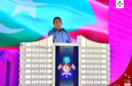 """President Abdulla Yameen speaks after inaugurating the """"Hiyaa"""" housing project in Hulhumale Phase 2. PHOTO: HUSSAIN WAHEED/MIHAARU"""