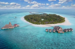 Aerial view of Anantara Kihavah Maldives in Baa atoll.
