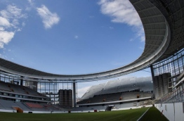 A photo taken on August 19, 2017 shows the Yekaterinburg Arena under renovation work in Yekaterinburg. The Yekaterinburg Arena will host several football matches of the 2018 FIFA World Cup. Mladen ANTONOV / AFP
