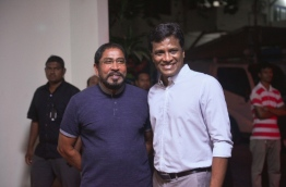 JP's leader Qasim Ibrahim (L) and Umar Naseer pose for a picture. PHOTO/MIHAARU