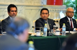 President Abdulla Yameen (C) speaks at the Business Leaders Forum during his first state visit to China. PHOTO/PRESIDENT'S OFFICE