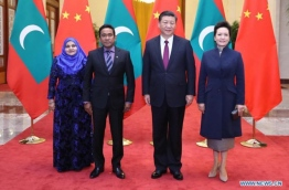 Maldives' president Abdulla Yameen (L-2) and first lady Fathimath Ibrahim (L) pictured with China's president Xi Jinping (R-2) and first lady Peng Liyuan during Yameen's first state visit to China. PHOTO/NEWS.CN