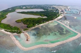 Aerial view of HDh Kulhudhuffushi shows ongoing land reclamation.