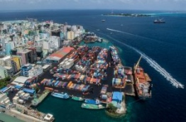 Aerial view of Maldives Ports Limited (MPL)'s commercial harbour in capital Male. FILE PHOTO/MIHAARU
