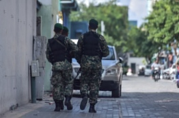 Armed MNDF officers in Male. PHOTO: HUSSAIN WAHEED/MIHAARU