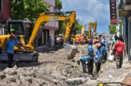 Expatriates at work during a road construction project in capital Male. FILE PHOTO/MIHAARU
